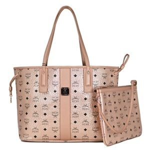 MCM liz Metallic Reversible shopper with pouch bag